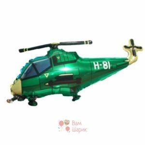 Фольгированная фигура вертолет зеленый