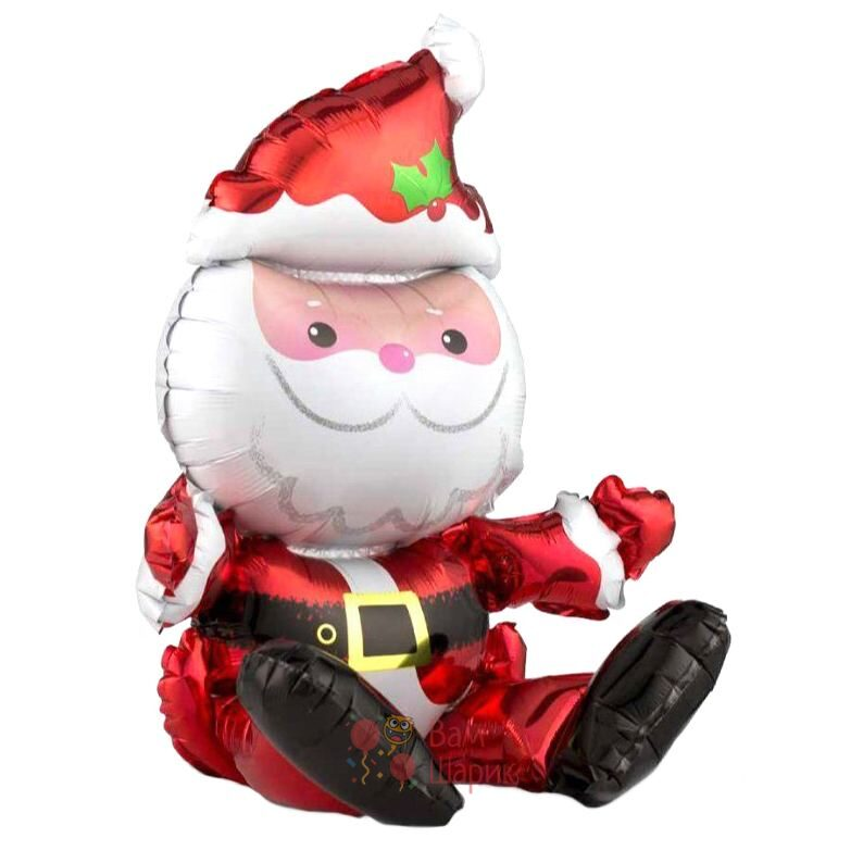 Фольгированная фигура сидячий Санта Клаус