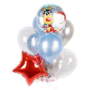 Композиция из серебряных и голубых шаров на новый год