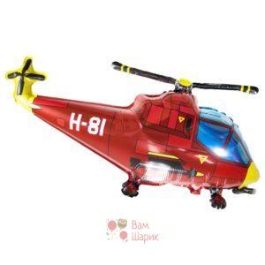 Фольгированная фигура вертолет красный