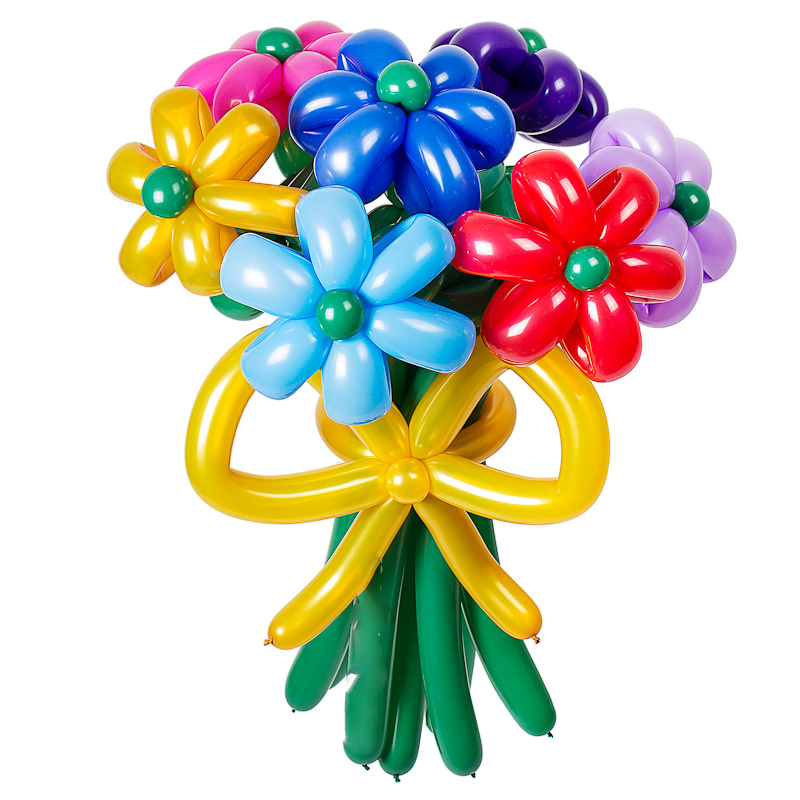 Цветы из шаров - разноцветные ромашки - 1 шт