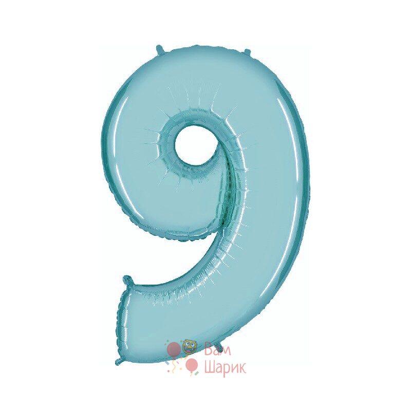 Шар цифра 9 голубая