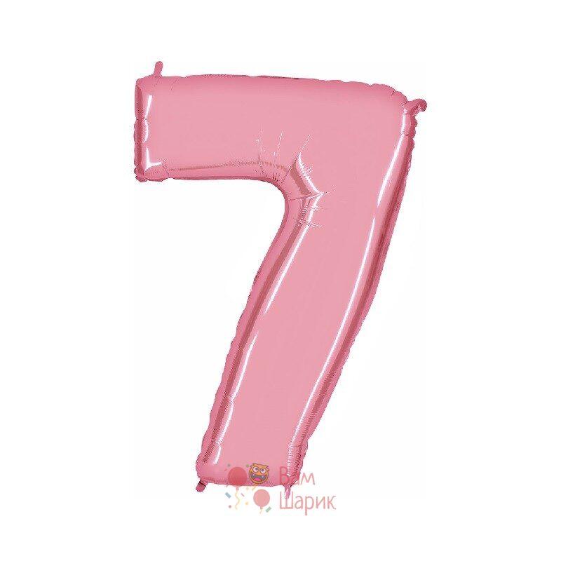 Шар цифра 7 розовая
