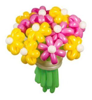 Цветы из шаров - ромашки розовые и желтые - 1 шт.