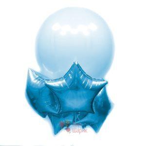 Композиция с большим голубым шаром и голубыми звездами