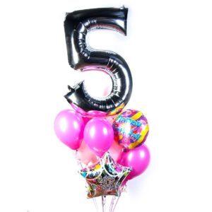 Композиция на День Рождения с серебряной цифрой