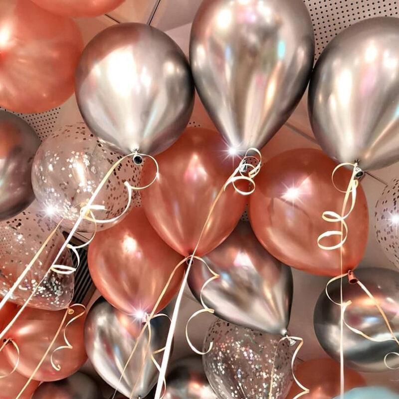 Шары под потолок серебряный хром, розовое золото и прозрачные шары с серебряным конфетти 50 шт