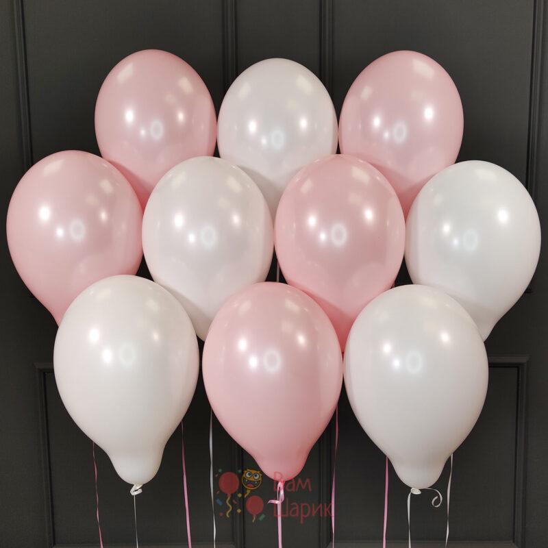 Воздушные шары бело-розовые