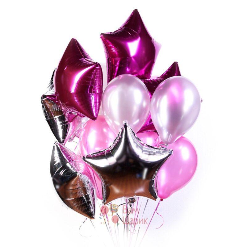 Композиция из серебряных и розовых шаров с гелием со звездами