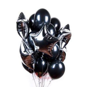 Композиция из черных шаров со звездами на 23 февраля