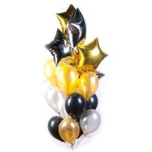 Композиция из серебряных, золотых и черных шаров со звездами