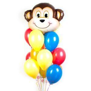 Композиция разноцветных шаров с обезьянкой