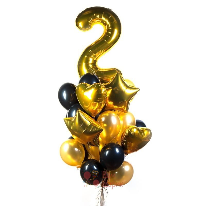 Композиция на День Рождения с золотой цифрой сердцами и звездами