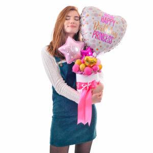 Композиция из мини-фигур Сердце Happy birthday Princess и розовые, фуксия и золотые звезды и сердца мини