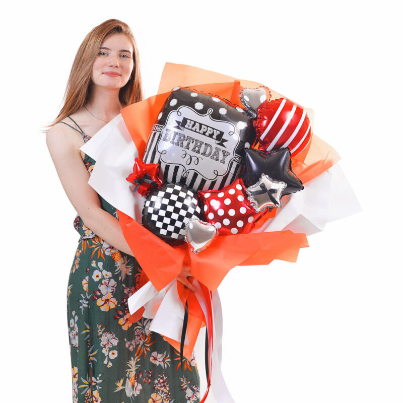 Букет Happy birthday в красно-черных цветах для мужчины