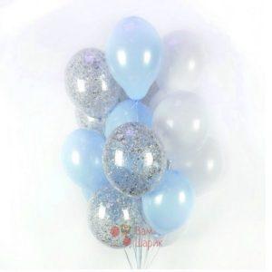 Облако бело-голубых и прозрачных шаров с серебряными блёстками