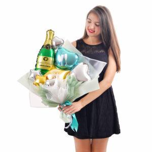 Букет из мини-фигур Happy birthday c шампанским