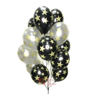 Облако черных и серебряных шаров с золотыми звездами