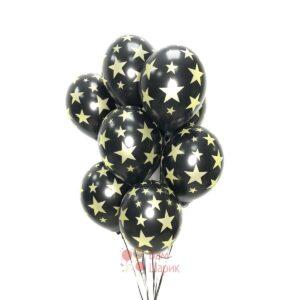 Облако черных шаров с золотыми звездами
