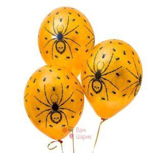 Облако оранжевых шаров с пауками на Хэллоуин