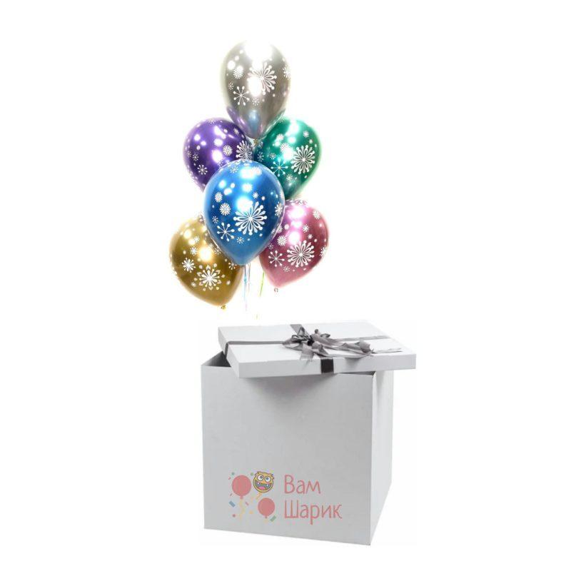 Разноцветные шары снежинки хромированные в коробке