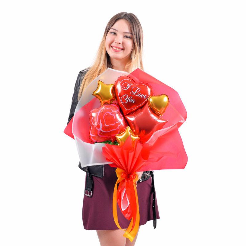 Букет из мини-фигур: Роза красная, звезда красная, сердце красное I love you, золотые микро звезды и сердце