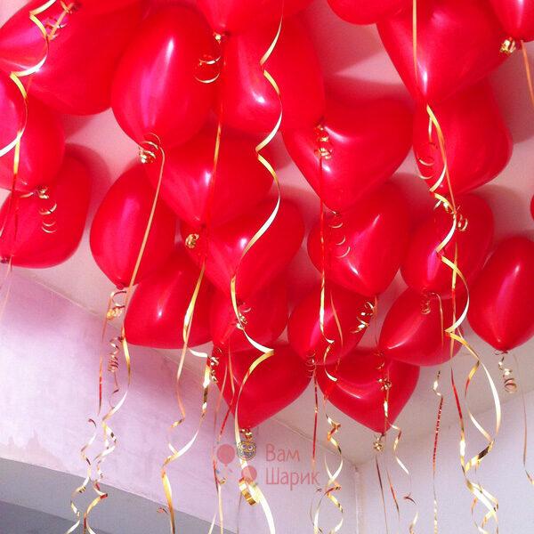 Шары под потолок красные латексные сердца