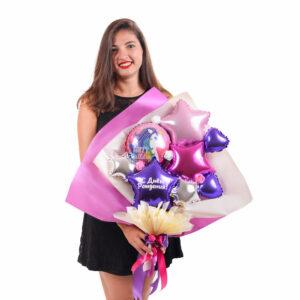 Букет из мини-фигур с кругом Happy Birthday и фиолетовой звездой с надписью