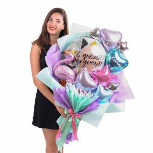 Именной букет на день рождения с мини-фламинго