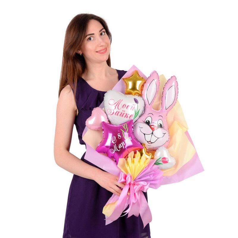 """Букет с розовым зайчиком, белым сердцем """"Моей зайке"""", звездой фуксия """"С 8 марта"""""""