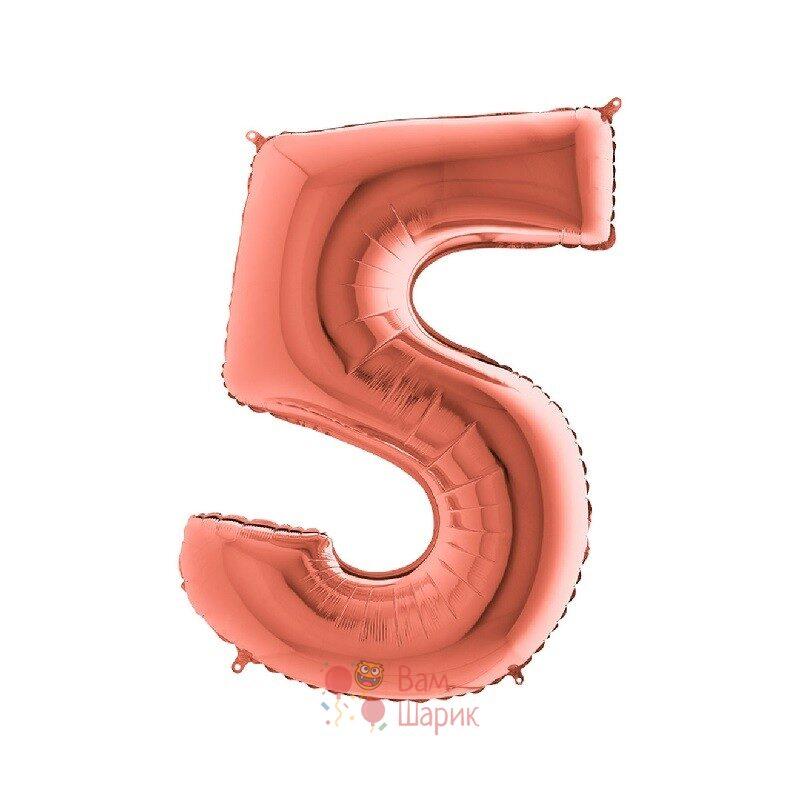 Шар цифра 5 розовое золото