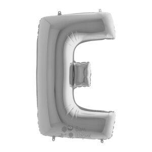 Фольгированная серебряная буква E