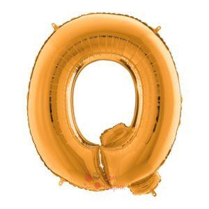 Фольгированная золотая буква Q