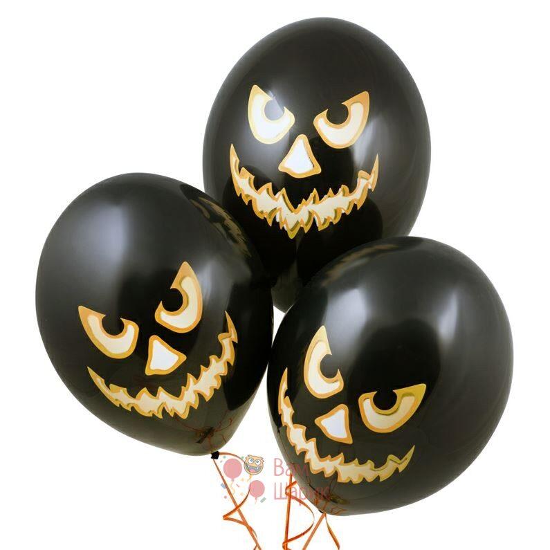 Облако черных шаров с тыквами на Хэллоуин