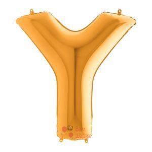 Фольгированная золотая буква Y