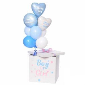 Композиция для мальчика в белой коробке с надписью BOY & GIRL