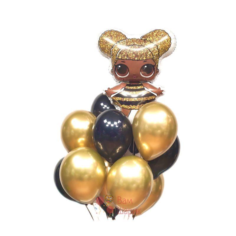 Композиция из черных и золотых хромированных шаров с LOL