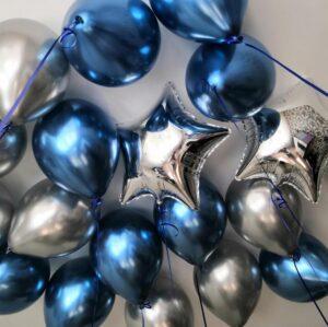 Шары под потолок синий и серебряный хром со звездами 50 шт.