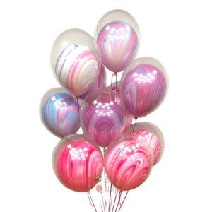 Композиция из воздушных шаров шар в шаре розовые и сиреневые агаты