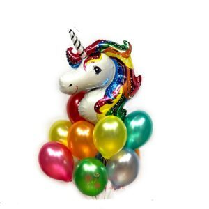 Композиция гелиевых шаров металлик с головой единорога на день рождения ребенка