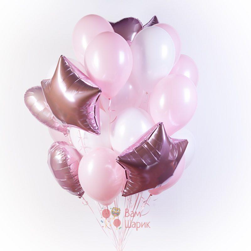 Композиция из бело-розовых шаров с сердцами и звездами