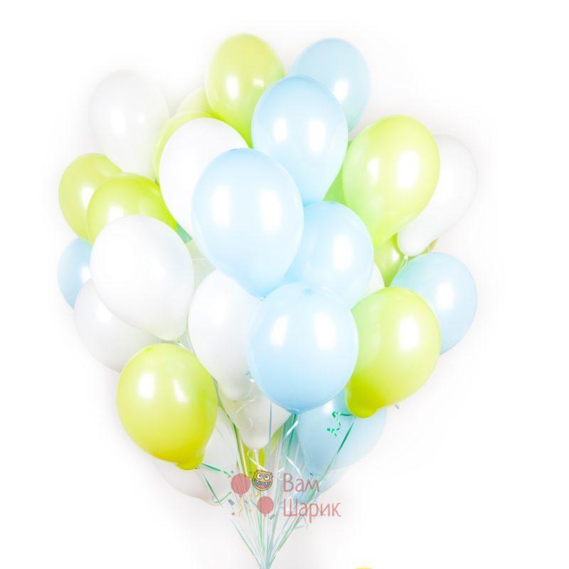 Облако салатовых, белых и голубых шаров