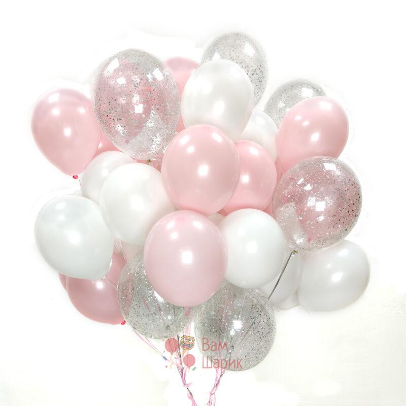 Большая композиция бело розовых шаров с прозрачными шариками с серебряными блестками