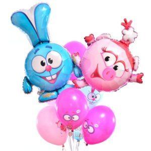Композиция из воздушных шаров смешары с Крошем и Нюшей