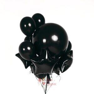Композиция из черных шаров с большим шаром и черными звездами