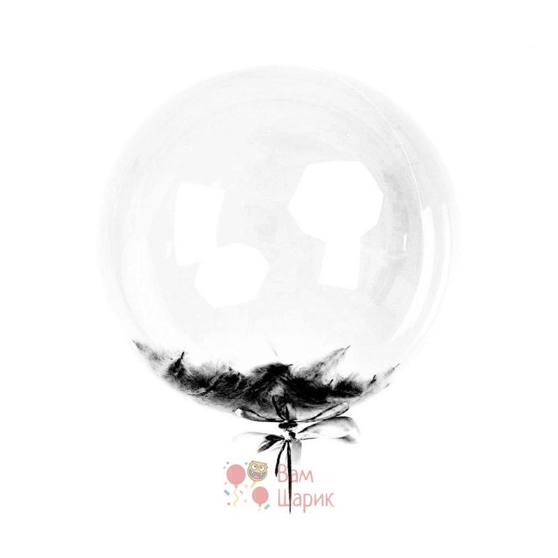 Кристальный шар Bubbles с черными перьями