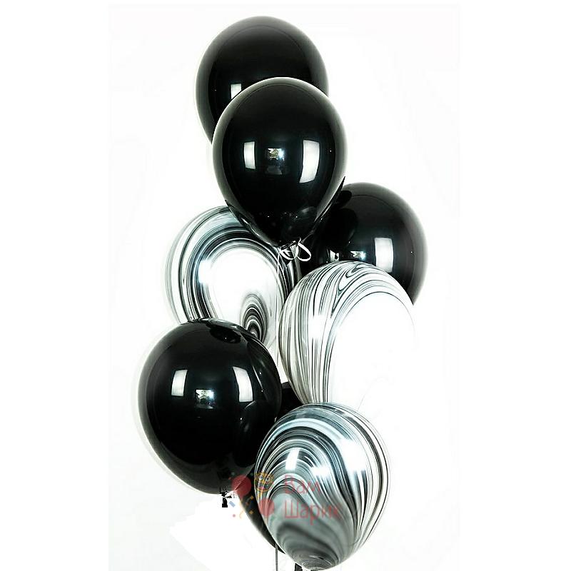 Облако из черных шаров и черных агатов