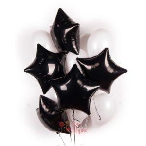 Композиция из белых шаров с черными звездами