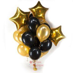Композиция из черных и золотых шаров со звездами