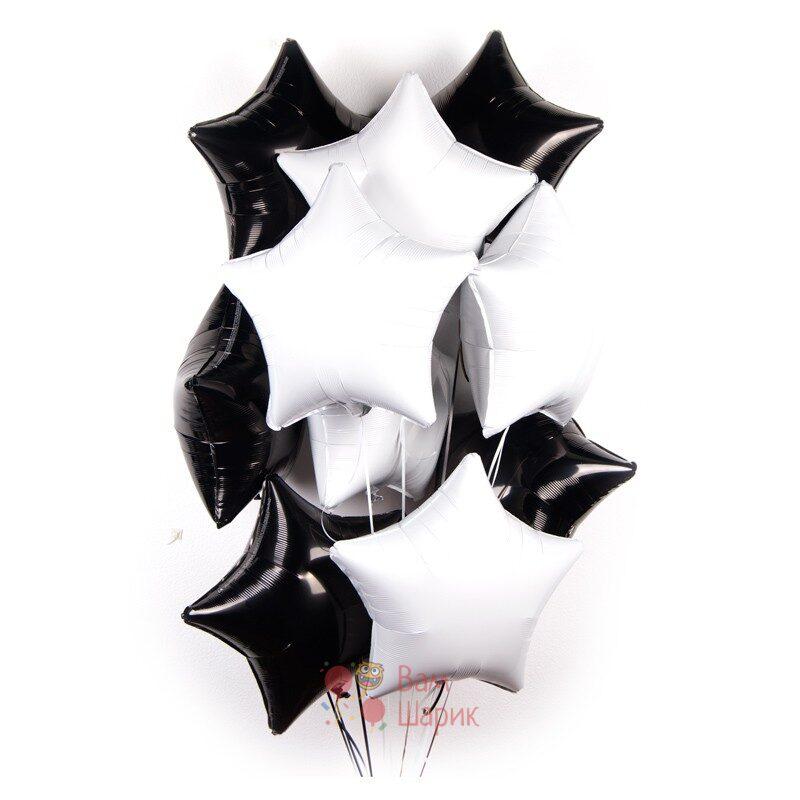 Композиция из фольгированных белые и черных звезды